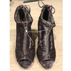 REPORT Velvet Dark Grey open toe zipper boots NEW